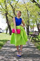 chartreuse Sheinside skirt - hot pink H&M bag - blue Zara top - blue H&M sandals
