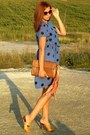 Blue-vintage-dress-brown-salvatore-ferragamo-bag-orange-unknown-clogs