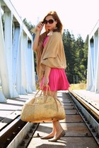 hot pink New Yorker dress - camel vintage scarf - camel unknown bag