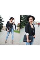 black Shana hat - blue Tally Weijl jeans - black vintage top