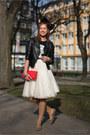 Black-primark-jacket-red-unknown-bag-ivory-diy-skirt-tawny-vintage-flats