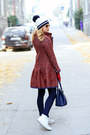 Red-sheinside-coat-navy-orsay-jeans-navy-tommy-hilfiger-shirt