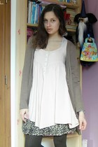 light pink H&M dress - light brown second-hand sweater - dark brown Lidl tights