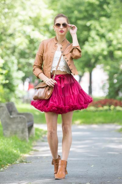 maroon Ebay skirt - tawny New Yorker boots - tawny Orsay jacket