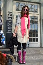hot pink leopard print F&Fleop boots - ivory H&M dress - silver second-hand swea