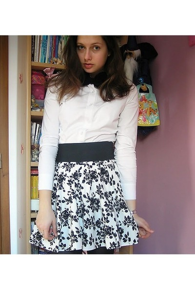 Black And White Floral Skirt - Dress Ala