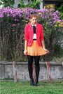 White-romwe-blouse-red-from-second-hand-blazer-orange-romwe-skirt