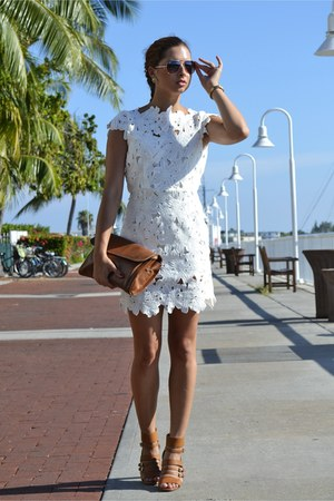 white Sheinside dress - tawny Salvatore Ferragamo bag - brown Ray Ban sunglasses