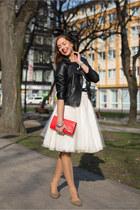 ivory DIY skirt - black Primark jacket - red unknown bag - tawny vintage flats