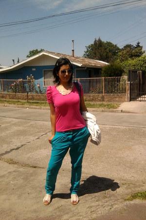 peach lace necklace - ivory index jacket - hot pink cotton Zara shirt