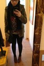 Bronze-lace-up-heels-shoes-dark-green-parka-h-m-jacket