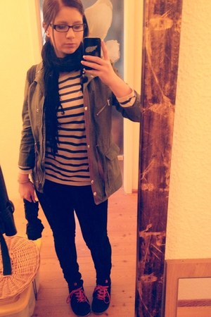 black H&M jeans - dark green mud green parka H&M jacket - navy H&M sweater