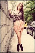 black velvet boots - skirt - top