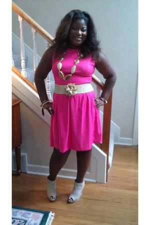 pink dress barn dress - tan Charlotte Russe shoes - tan bs belt