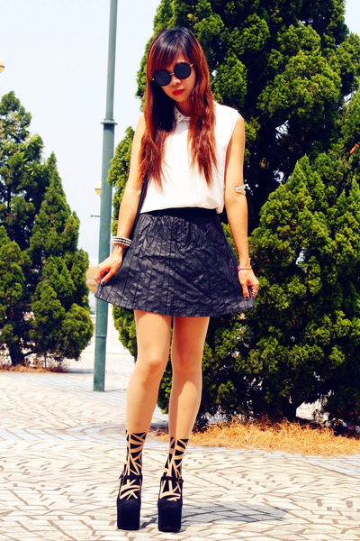 VANCL bag - Jeffrey Campbell wedges - Bershka skirt