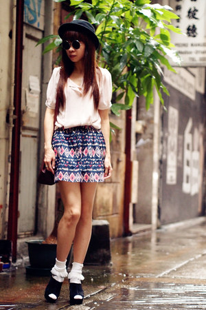 VANCL skirt - American Apparel socks - asos sandals - VANCL blouse