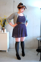 wool socks - homemade dress - vintage wool petite sophisticate sweater