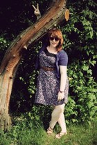 purple floral dress homemade dress - salmon H&M sunglasses
