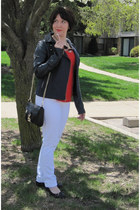 white Old Navy jeans - navy Kut jacket - black c-o shopbop Rebecca Minkoff bag