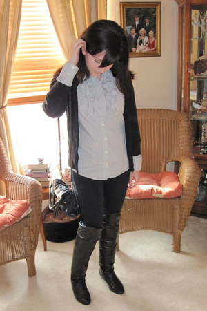 black Chinese Laundry boots - navy Forever 21 jeans - navy foley  corinna bag -