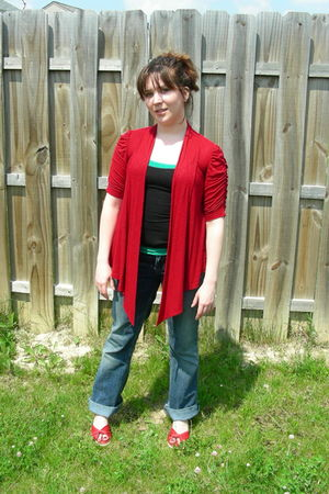 red hip cardigan - black Forever 21 top - green Forever 21 top - blue Silver Jea