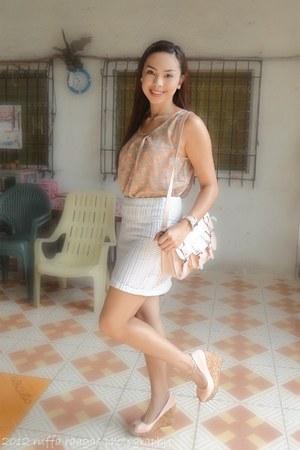 light pink EGG bag - ivory Bettys skirt - light pink So Fab wedges