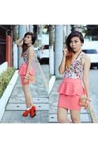 coral peplum sams station skirt