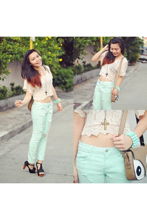 lime green mint f21 pants - tan owl China bag