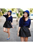 blue bowler BU4 hat - navy blue thrifted sweater - black leather gift skirt