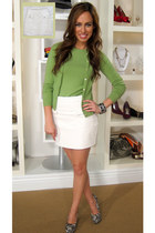chartreuse BCBG cardigan - white leather skirt Forever 21 skirt