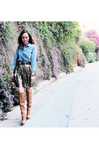 gold gold skirt vintage skirt - tawny tan boots Nine West boots