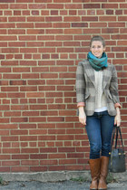 gifted scarf - Aldo boots - H&M jeans - pins and needles sweater