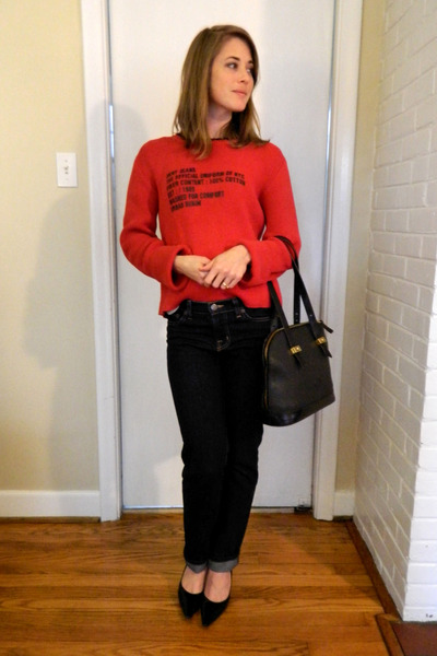DKNY - thrifted sweater - J Brand - 2nd hand jeans - Dooney and Bourke