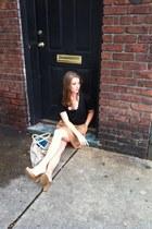 canvas tote J Crew bag - J Crew skirt - Old Navy top - nude peep toe Aldo heels