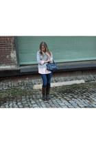 J Crew top - Nine West boots - banana republic jeans - balanciaga bag