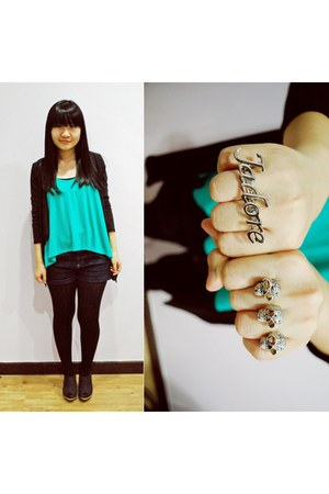 turquoise blue BCBG shirt - black from taiwan tights - Topshop shorts - black fr