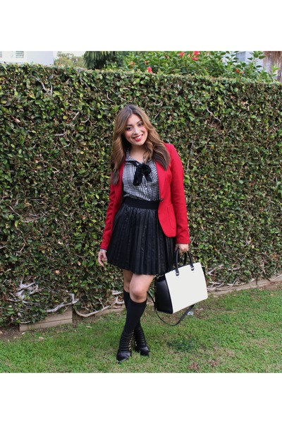 black Forever 21 skirt - ruby red Forever 21 blazer