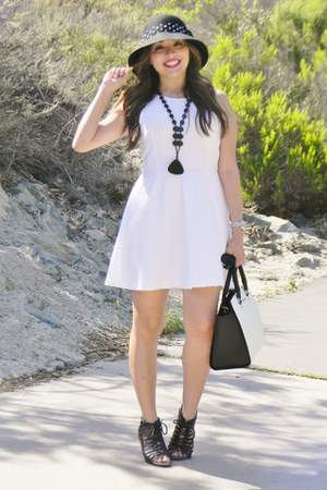 white H&M dress - Michael Kors purse