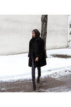 black faux fur vintage coat