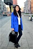 blue foymall coat - ivory romwe jumper