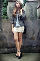 black OASAP bag - dark khaki vintage jacket - beige OASAP shorts