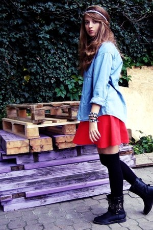 black no name boots - red H&M dress - sky blue vintage shirt