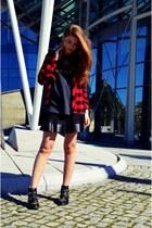 black Stradivarius boots - red H&M Kids shirt - black pull&bear skirt