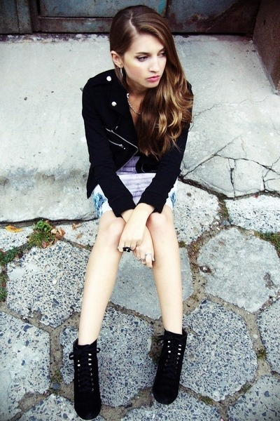 black second hand jacket - black no name boots - teal Zara skirt