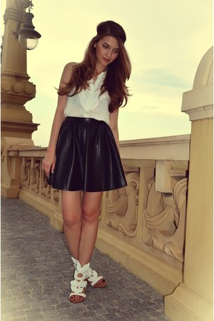 white Sheinside shirt - black Dahlia skirt - white Mart of China sandals