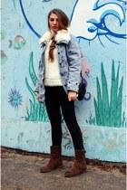 sky blue 6ks jacket - light brown Tommy Hilfiger boots - white Sheinside sweater