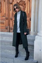 black Zara boots - dark green Bershka coat - periwinkle Promod sweater