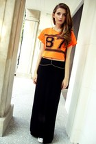 orange TKmaxx top - gold Ayamé necklace - black vintage skirt