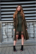army green vintage dress - black Zara boots - army green F&F coat