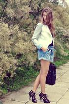 black new look heels - white Stradivarius jacket - black next bag